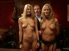 Two Blonde Slaves Serve One Hard Cock