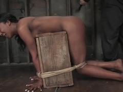 Stacy cash tied in doggy position and whipped hard