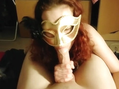 Masked Girl Sucking and swallows