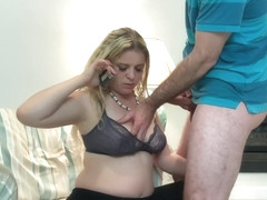 Stepmom fucks stepson while on a conference call - Erin Electra