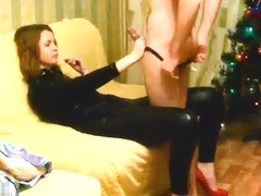 Wife in latex suit getting f...