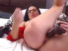 Livecam Dp With Diamond Plug  Black Dildo - KinkyFrenchies