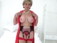 British mature Lady Sonia sexy striptease