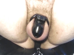 Sub edging while watching porn and riding prostate vibrator