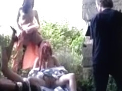Outdoor African Hottie Blowjob Fucking Interracial