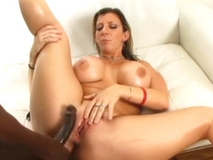 Blonde babe with huge tits gets on her knees and gives an amazing blow job