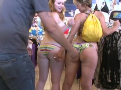 Hot chicks Alina Aldamen and Kelsey Michaels stripping down in a shop