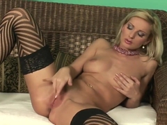 Blonde Vanessa Jordin stimulating her gentle pussy petals on the camera