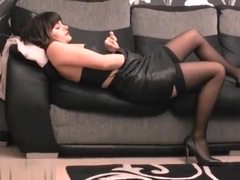 Sexy secretary returns from work and plays with herself in leather lingerie