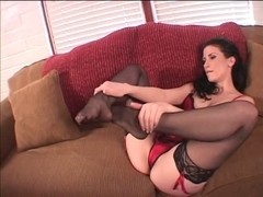 Honey Veronica Stone in red underware and stockings playing with herself