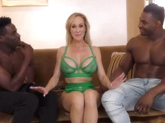 Gorgeous blonde woman in erotic, green lingerie, Brandi Love got down and dirty with two black guys