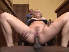 Milf with hairy cunt is plugged by a hard ebony member