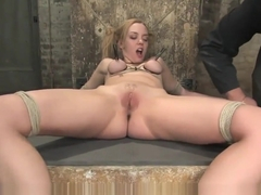 Annette Schwarz, slut from Germany is breast bound, canned, whipped nonstop