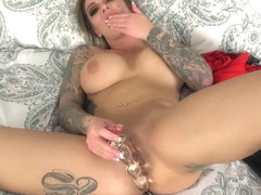 Karma Rx in a red dress enjoys a glass dildo in her peach - Baberotica