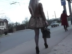 Astounding bimbo upskirted right on the street