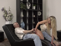 OLD4K. Old buddy creampies young blonde after nice fucking on floor