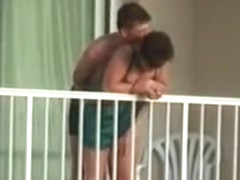 Voyeur caught them fuck on the balcony