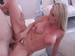 Blonde stepmom fucks stepson while dad is not at home
