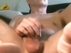 Juicy boyfriend is relaxing at home and filming himself on computer webcam