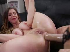 Natural Busty Lesbian Anal Fucked In Office