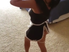 Little Asian Maid Gets Stuck Under Bed