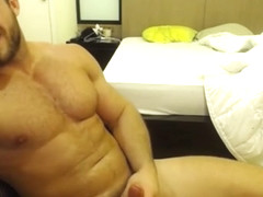 Solo Muscle Hunk Cums All Over His Chest With Brock Jacobs