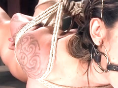 Busty brunette slut gets hogtie bondage