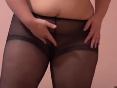 Young plump, trying on shoes and stockings and masturbates