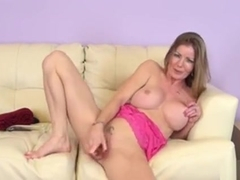 Sexy Slender Blonde Mom Amber Michaels Makes Herself Cum On The Couch