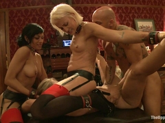 Dylan Ryan & Derrick Pierce & Chastity Lynn & Beretta James in Slave Initiation: Buttons - TheUppe.