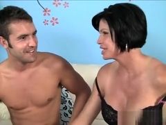 Voluptuous cougar in black lingerie Shay Fox sucks and fucks a young stud's big dick