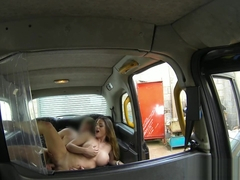 Taxi amateur doggystyled on backseat