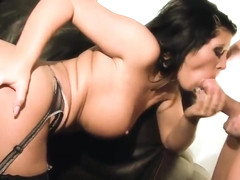 Long haired slut makes out with those two horny dudes