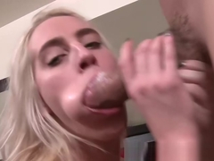 Teen Cadence Lux opens wide for a massive sledgehammer