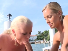 Two sexy bitches Angel Vain and Nicole Anistonsuck my big dick