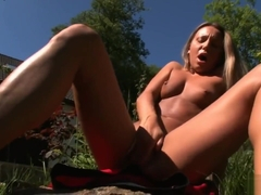 Whitney Conroy makes her perfect pussy cum outdoors