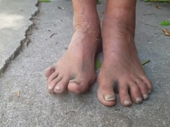 Homeless Lady Barefooted Dirty Feet