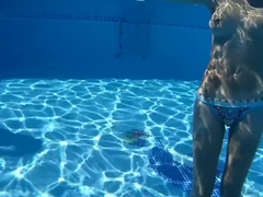 Hot sexy body in a cool Ibiza pool with a guy, relax music