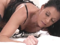 India Summer is a smoking hot woman in black fishnets, who likes to fuck much younger guys