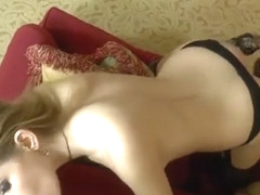 Heavenly little young slut Karina Grand is sucking cock hard