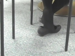 Candid Feet And Seated Dipping in Black Tights & Flats 2010