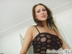Ass Traffic Skilled brunette has orgasm while double penetrated