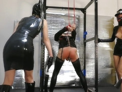Latex Dominatrix Couple Punish Tied up Slave
