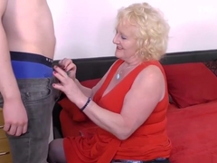 Grandmother teaches young male how to fuck