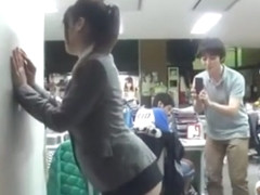 Asian in too short skirt ! even other girls are groping her ass at work !