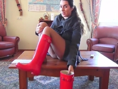 Red Hunter boots wellies trample and POV worship femdom