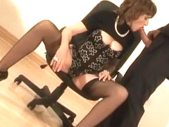 Leashed Lady Sonia sucking on the dudes big cock