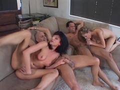 Two Young Beauties Open Up Their Pussies In Group Action