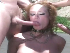 Curly Haired Lady Getting Fucked Outdoors
