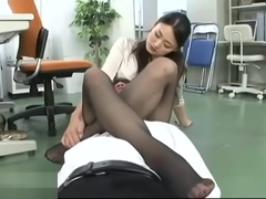 Japanese secretary long legs foot fetish